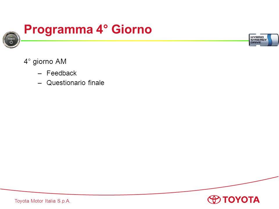 Toyota Motor Italia S.p.A. Programma 4° Giorno 4° giorno AM –Feedback –Questionario finale