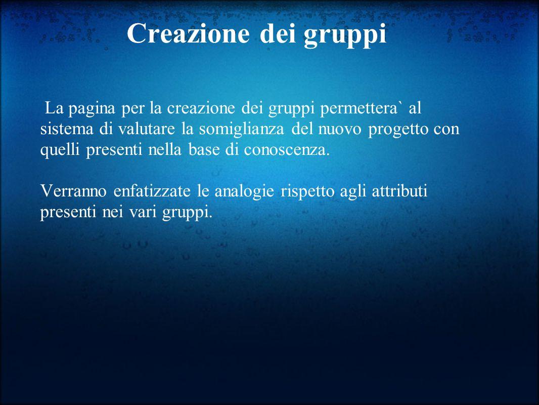 Creazione dei gruppi La pagina per la creazione dei gruppi permettera` al sistema di valutare la somiglianza del nuovo progetto con quelli presenti nella base di conoscenza.