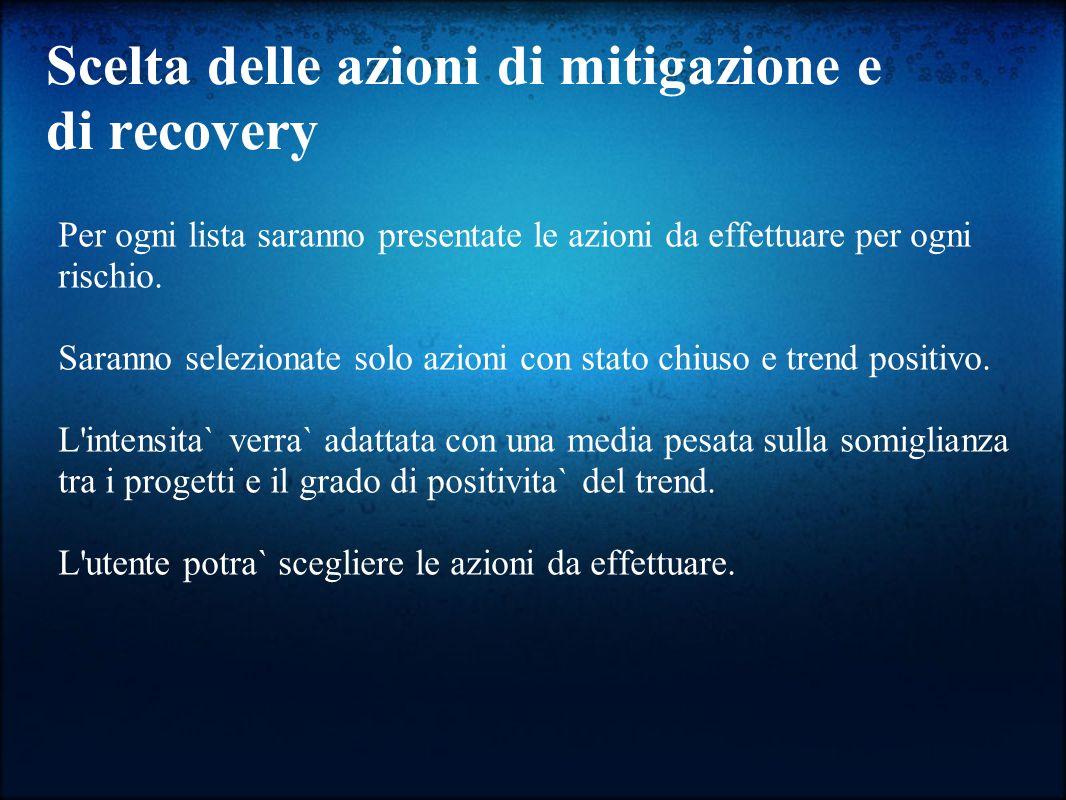 Scelta delle azioni di mitigazione e di recovery Per ogni lista saranno presentate le azioni da effettuare per ogni rischio.