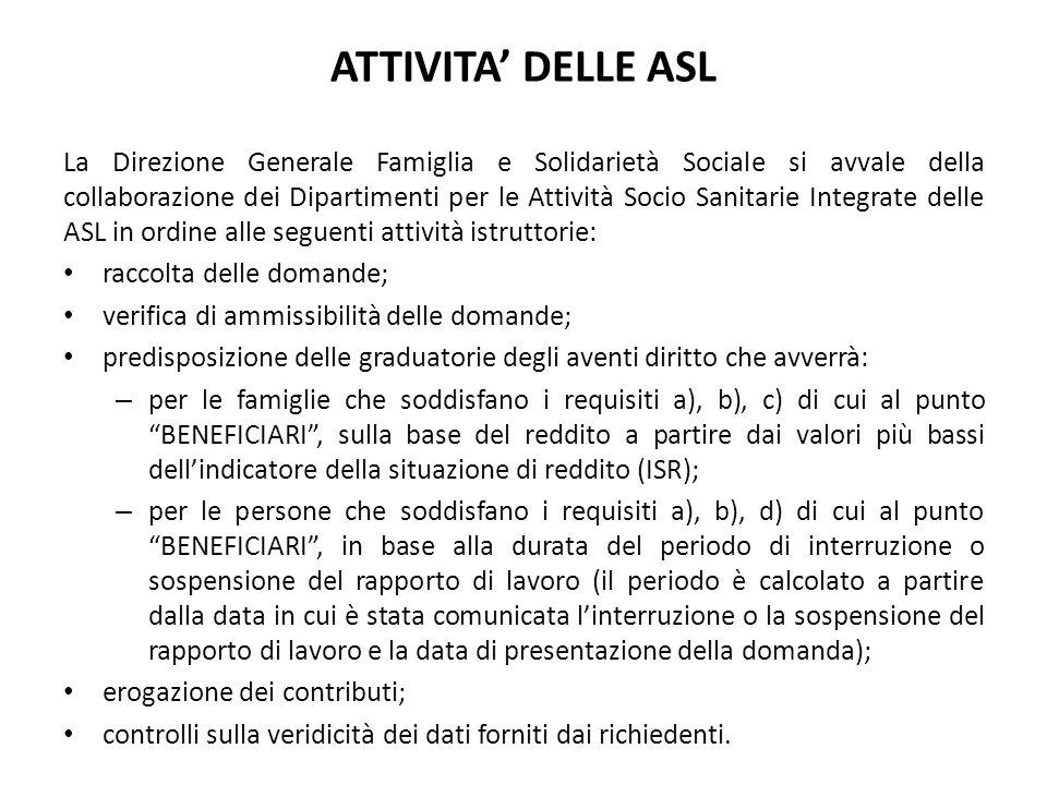 ATTIVITA' DELLE ASL La Direzione Generale Famiglia e Solidarietà Sociale si avvale della collaborazione dei Dipartimenti per le Attività Socio Sanitar