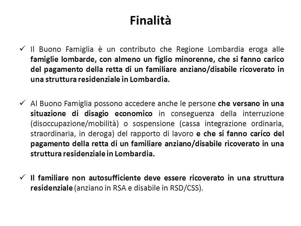 Finalità Il Buono Famiglia è un contributo che Regione Lombardia eroga alle famiglie lombarde, con almeno un figlio minorenne, che si fanno carico del