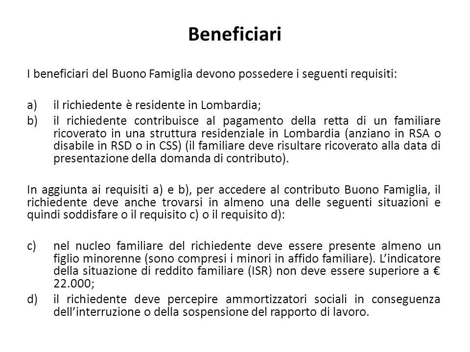 Beneficiari I beneficiari del Buono Famiglia devono possedere i seguenti requisiti: a)il richiedente è residente in Lombardia; b)il richiedente contri