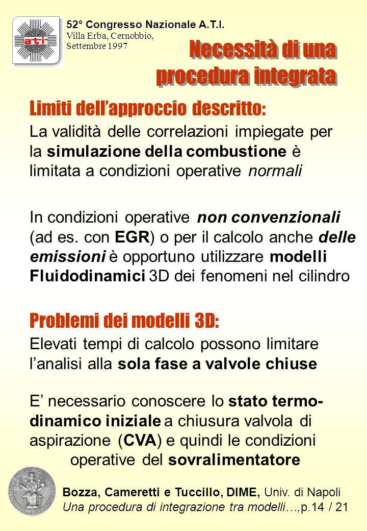 Necessità di una procedura integrata La validità delle correlazioni impiegate per la simulazione della combustione è limitata a condizioni operative normali In condizioni operative non convenzionali (ad es.