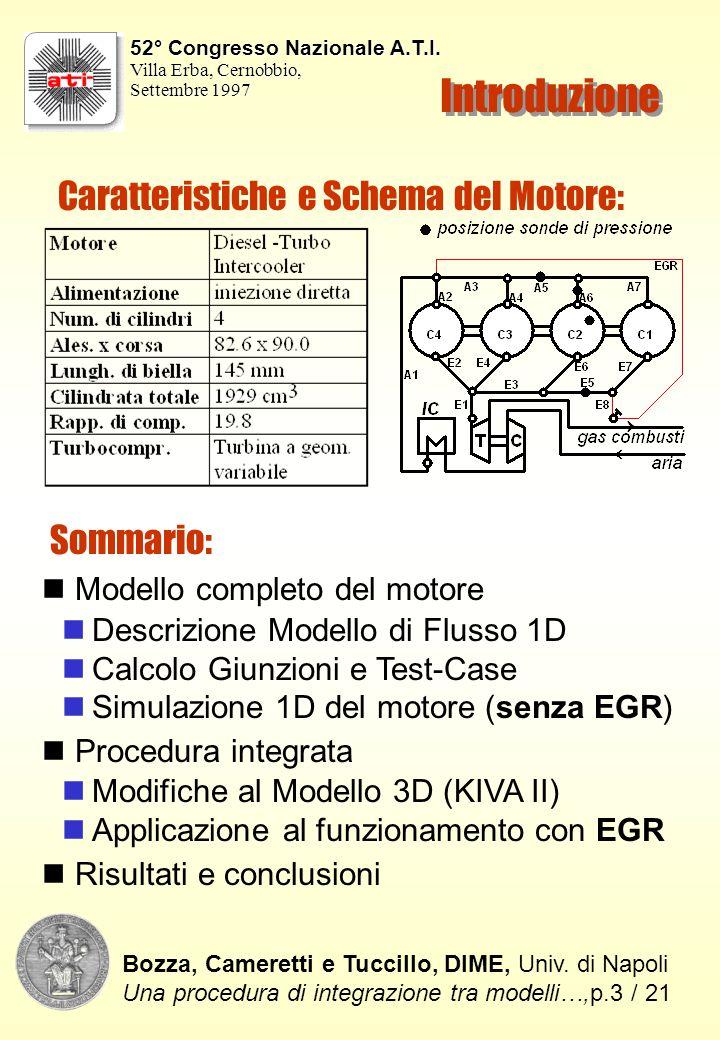 Introduzione Caratteristiche e Schema del Motore: Sommario: Modello completo del motore Descrizione Modello di Flusso 1D Calcolo Giunzioni e Test-Case Simulazione 1D del motore (senza EGR) Procedura integrata Modifiche al Modello 3D (KIVA II) Applicazione al funzionamento con EGR Risultati e conclusioni Bozza, Cameretti e Tuccillo, DIME, Univ.