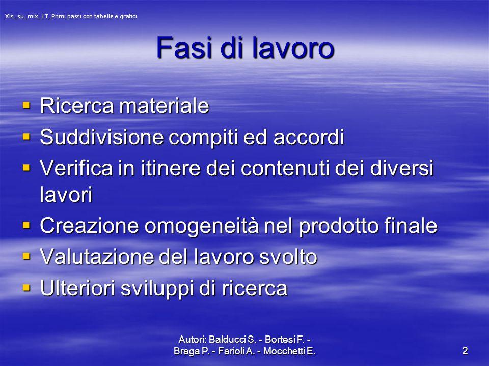 Autori: Balducci S. - Bortesi F. - Braga P. - Farioli A. - Mocchetti E.2 Fasi di lavoro  Ricerca materiale  Suddivisione compiti ed accordi  Verifi