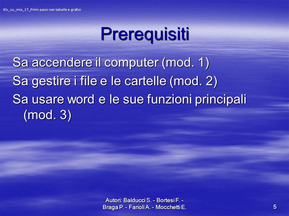 Autori: Balducci S. - Bortesi F. - Braga P. - Farioli A. - Mocchetti E.5 Prerequisiti Sa accendere il computer (mod. 1) Sa gestire i file e le cartell