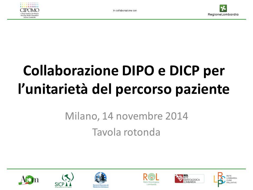 Collaborazione DIPO e DICP per l'unitarietà del percorso paziente Milano, 14 novembre 2014 Tavola rotonda