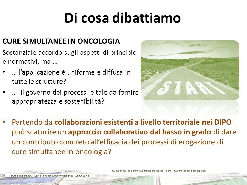 Di cosa dibattiamo CURE SIMULTANEE IN ONCOLOGIA Sostanziale accordo sugli aspetti di principio e normativi, ma … … l'applicazione è uniforme e diffusa in tutte le strutture.