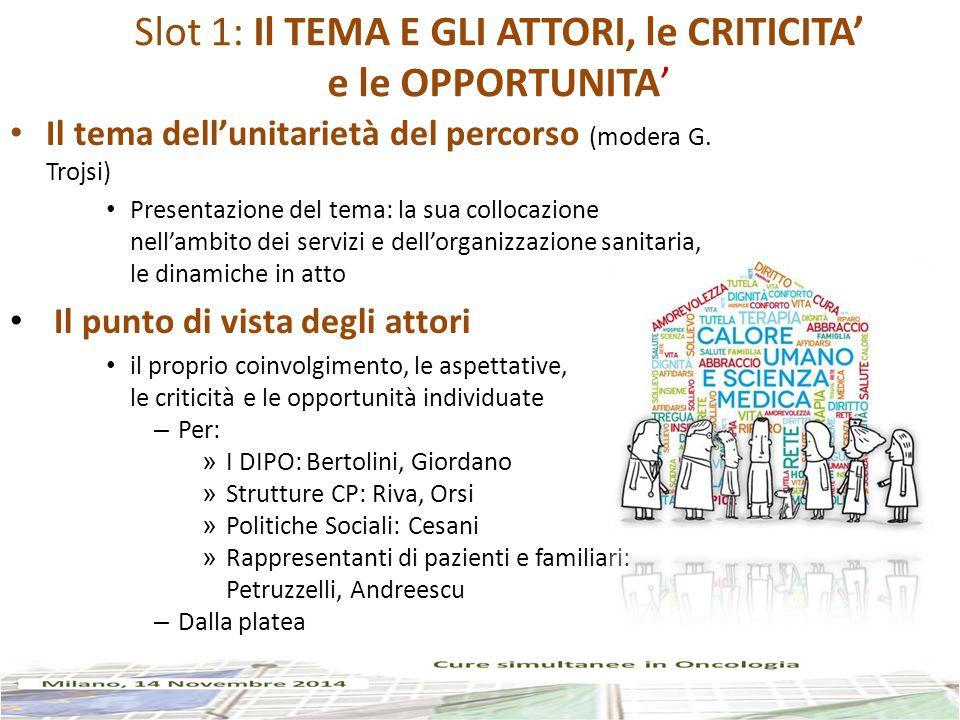Slot 1: Il TEMA E GLI ATTORI, le CRITICITA' e le OPPORTUNITA' Il tema dell'unitarietà del percorso (modera G.