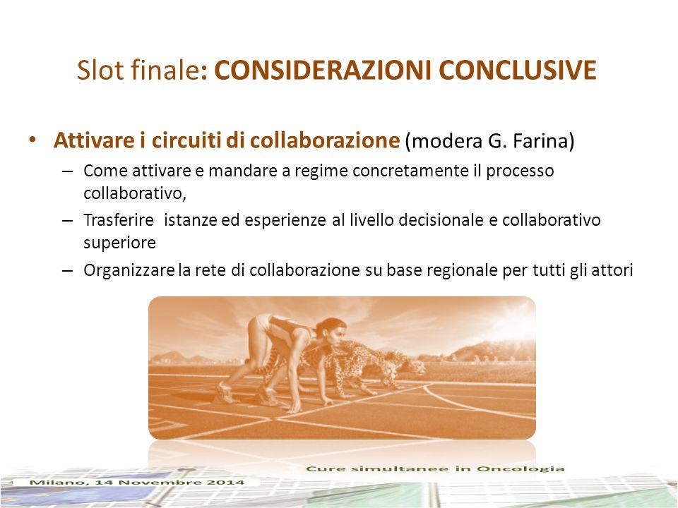 Slot finale: CONSIDERAZIONI CONCLUSIVE Attivare i circuiti di collaborazione (modera G.