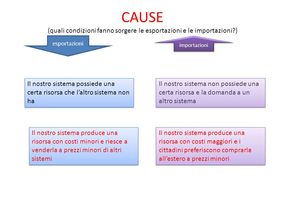 CAUSE (quali condizioni fanno sorgere le esportazioni e le importazioni?) esportazioni importazioni Il nostro sistema possiede una certa risorsa che l