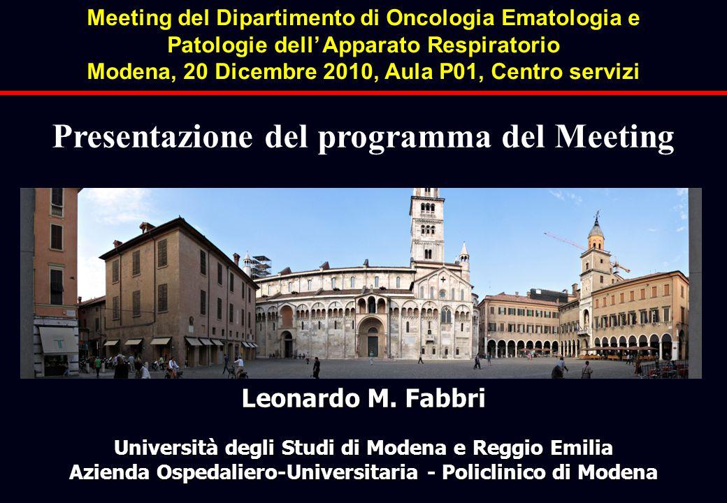 Leonardo M. Fabbri Università degli Studi di Modena e Reggio Emilia Azienda Ospedaliero-Universitaria - Policlinico di Modena Presentazione del progra