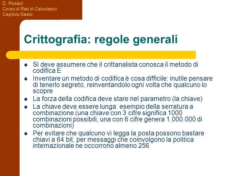 D. Rosaci Corso di Reti di Calcolatori Capitolo Sesto Crittografia: regole generali Si deve assumere che il crittanalista conosca il metodo di codific