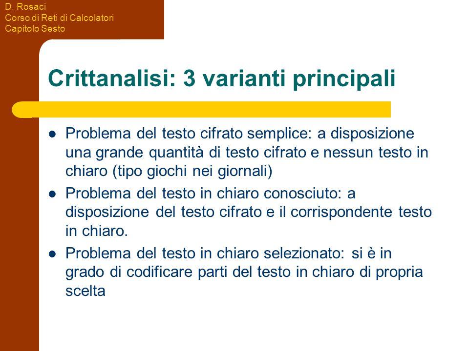 D. Rosaci Corso di Reti di Calcolatori Capitolo Sesto Crittanalisi: 3 varianti principali Problema del testo cifrato semplice: a disposizione una gran
