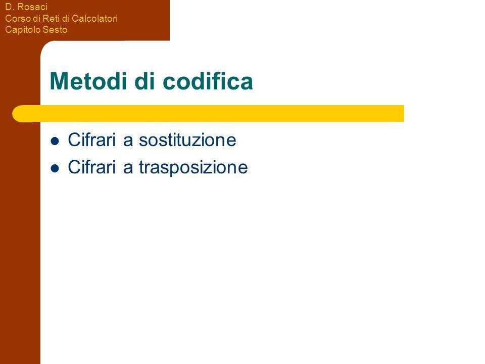 D. Rosaci Corso di Reti di Calcolatori Capitolo Sesto Metodi di codifica Cifrari a sostituzione Cifrari a trasposizione