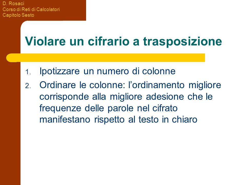 D. Rosaci Corso di Reti di Calcolatori Capitolo Sesto Violare un cifrario a trasposizione 1.