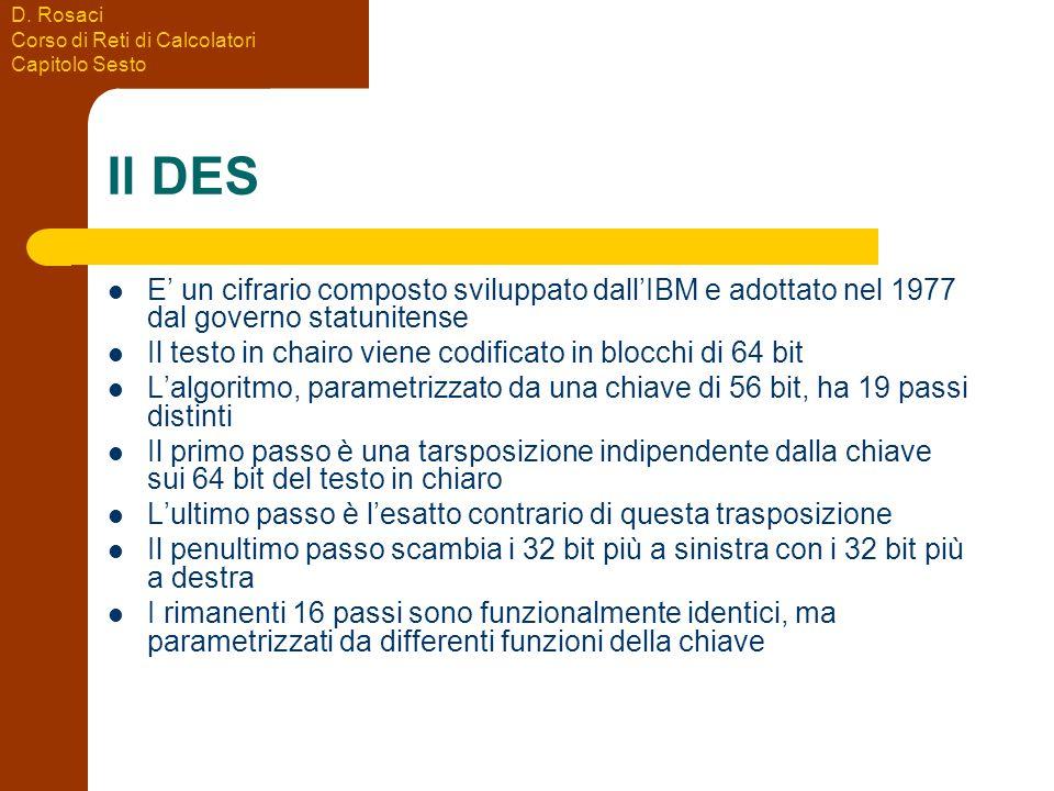 D. Rosaci Corso di Reti di Calcolatori Capitolo Sesto Il DES E' un cifrario composto sviluppato dall'IBM e adottato nel 1977 dal governo statunitense