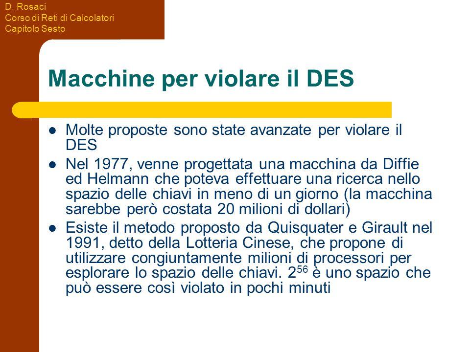 D. Rosaci Corso di Reti di Calcolatori Capitolo Sesto Macchine per violare il DES Molte proposte sono state avanzate per violare il DES Nel 1977, venn