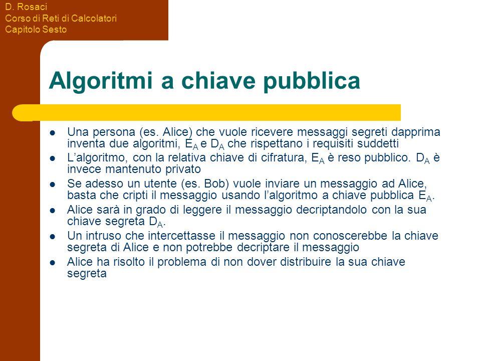 D. Rosaci Corso di Reti di Calcolatori Capitolo Sesto Algoritmi a chiave pubblica Una persona (es.