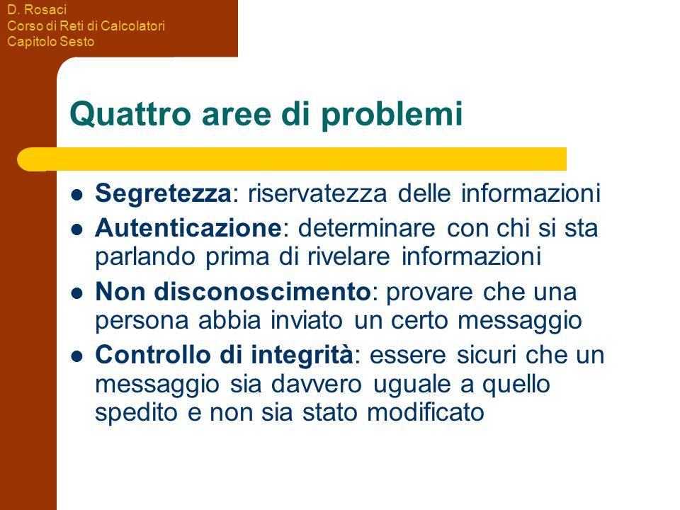 D. Rosaci Corso di Reti di Calcolatori Capitolo Sesto Quattro aree di problemi Segretezza: riservatezza delle informazioni Autenticazione: determinare