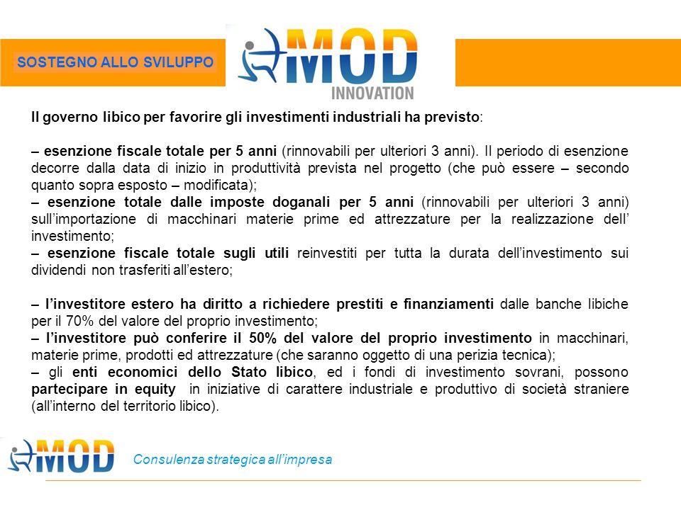 Consulenza strategica all'impresa Il governo libico per favorire gli investimenti industriali ha previsto: – esenzione fiscale totale per 5 anni (rinn