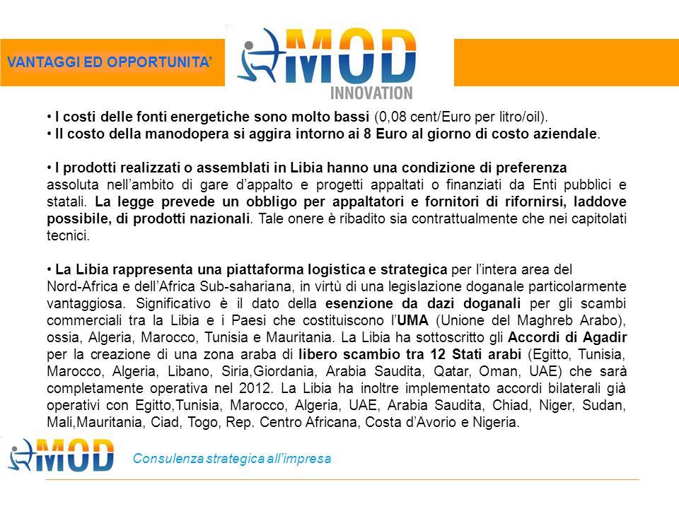 Consulenza strategica all'impresa I costi delle fonti energetiche sono molto bassi (0,08 cent/Euro per litro/oil). Il costo della manodopera si aggira