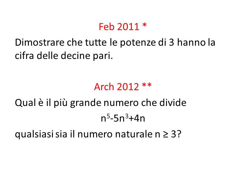 Feb 2011 * Dimostrare che tutte le potenze di 3 hanno la cifra delle decine pari.