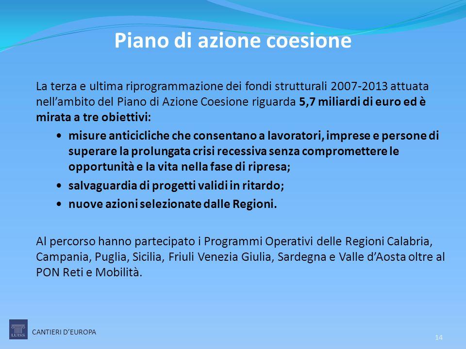 La terza e ultima riprogrammazione dei fondi strutturali 2007-2013 attuata nell'ambito del Piano di Azione Coesione riguarda 5,7 miliardi di euro ed è
