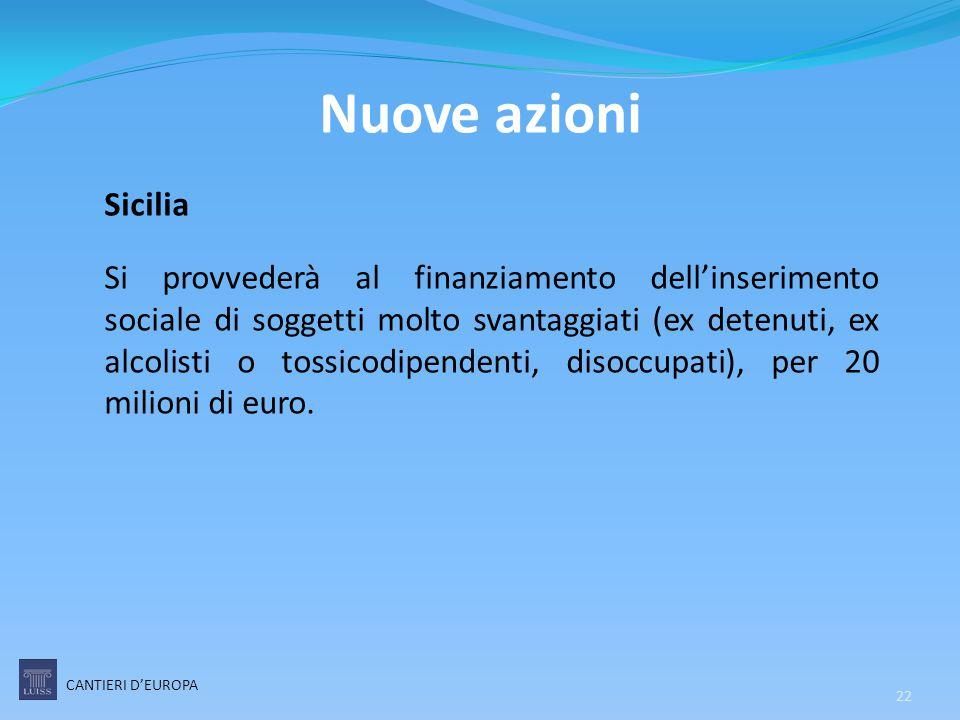 Nuove azioni Sicilia Si provvederà al finanziamento dell'inserimento sociale di soggetti molto svantaggiati (ex detenuti, ex alcolisti o tossicodipend
