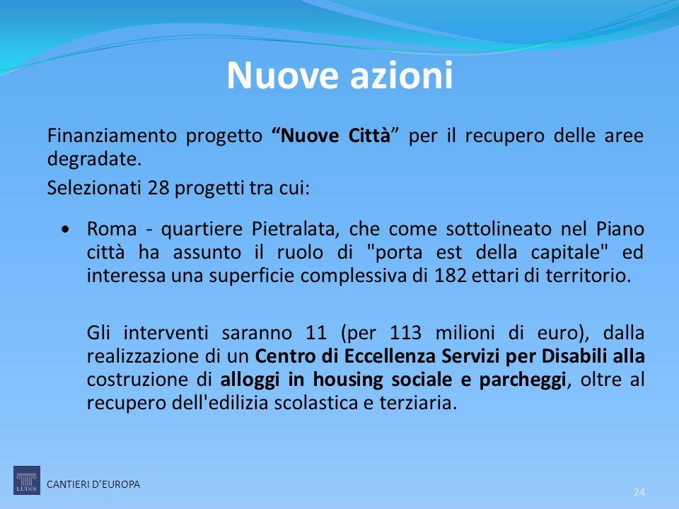 """Finanziamento progetto """"Nuove Città"""" per il recupero delle aree degradate. Selezionati 28 progetti tra cui: Roma - quartiere Pietralata, che come sott"""