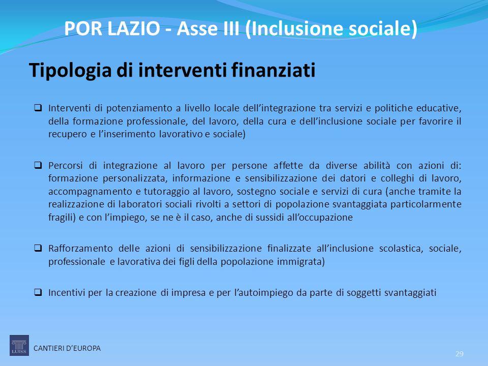 Tipologia di interventi finanziati  Interventi di potenziamento a livello locale dell'integrazione tra servizi e politiche educative, della formazion
