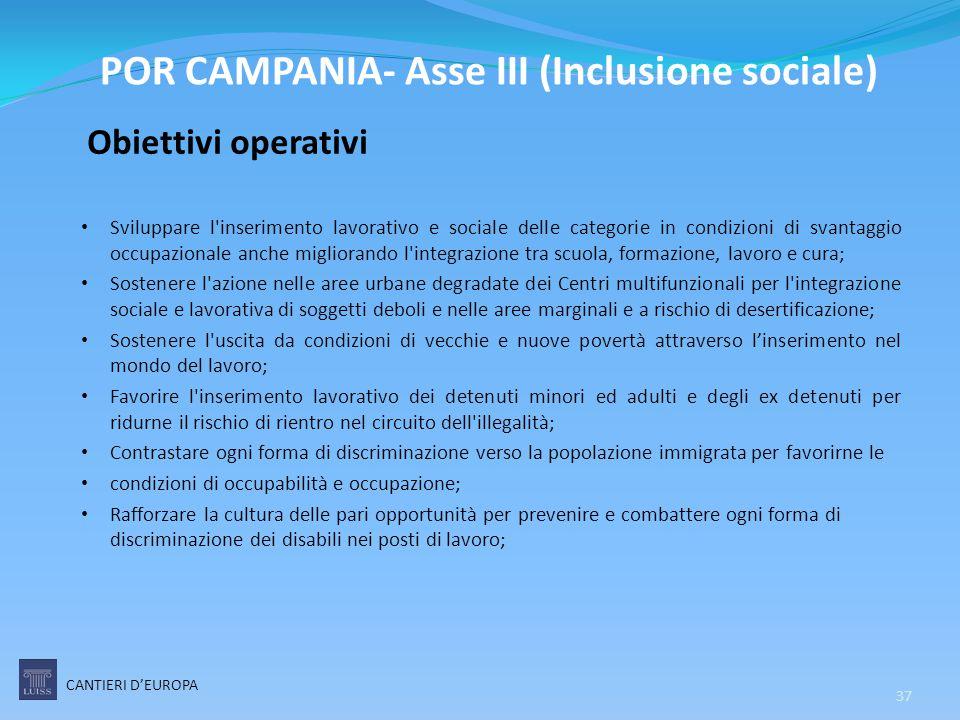 Obiettivi operativi Sviluppare l'inserimento lavorativo e sociale delle categorie in condizioni di svantaggio occupazionale anche migliorando l'integr