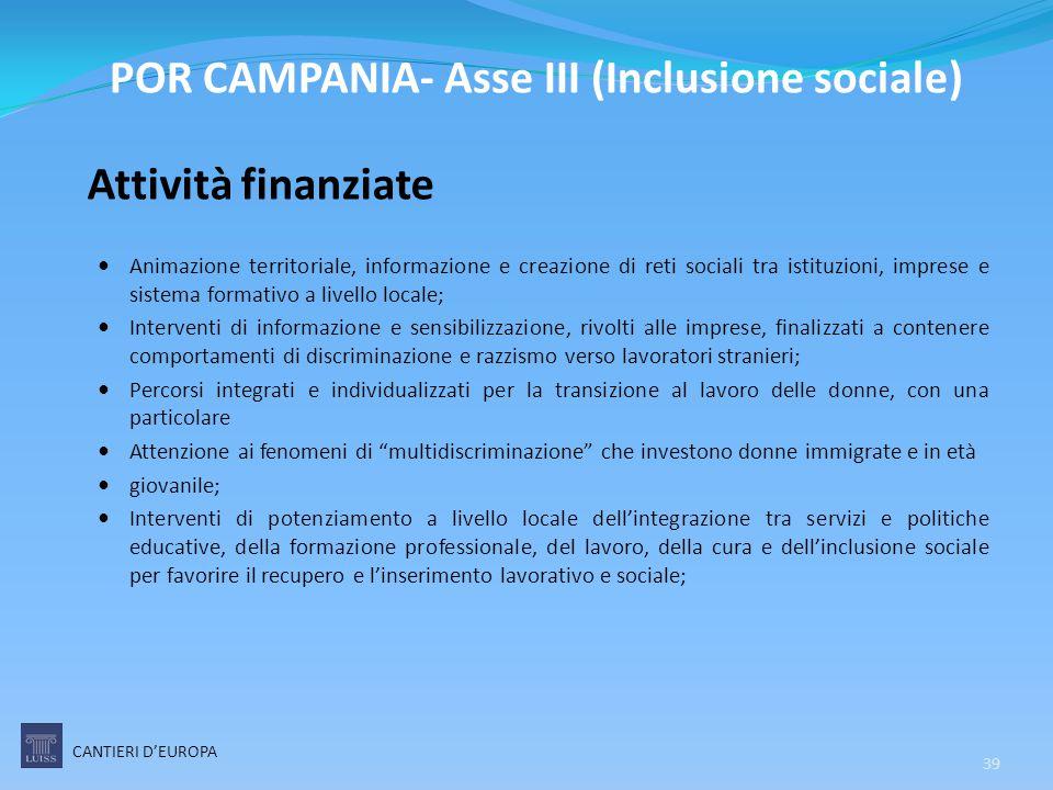 Attività finanziate Animazione territoriale, informazione e creazione di reti sociali tra istituzioni, imprese e sistema formativo a livello locale; I