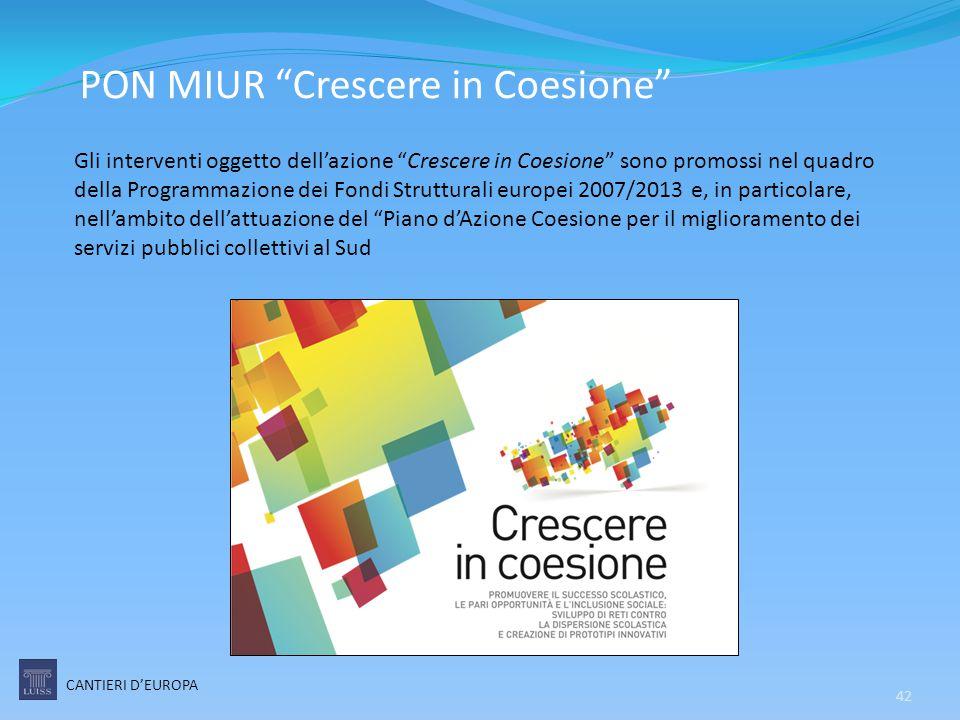 """PON MIUR """"Crescere in Coesione"""" CANTIERI D'EUROPA 42 Gli interventi oggetto dell'azione """"Crescere in Coesione"""" sono promossi nel quadro della Programm"""