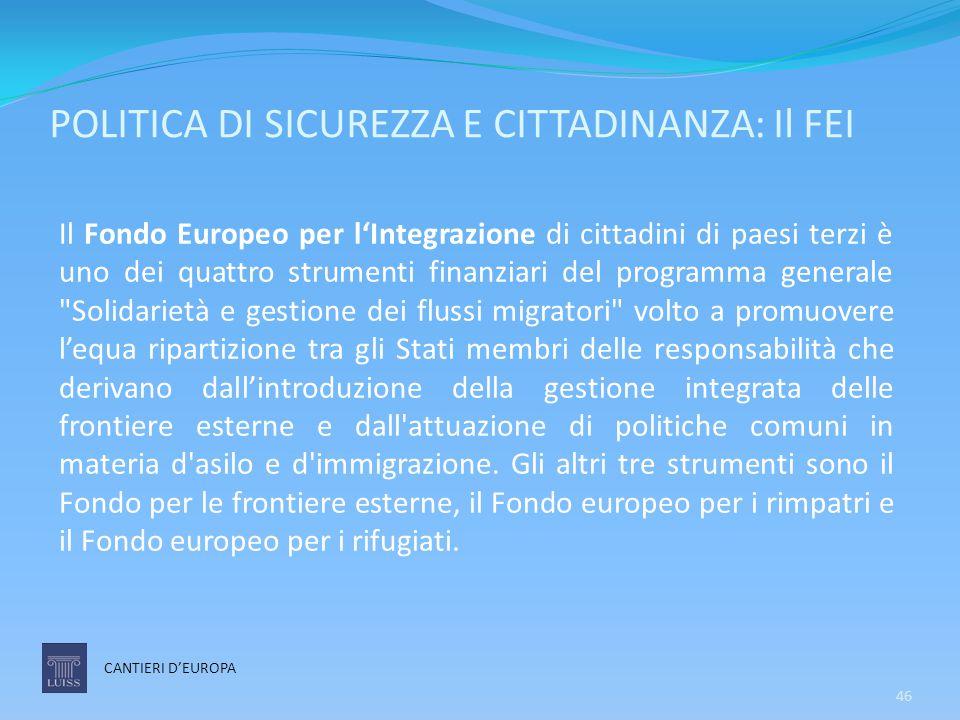 POLITICA DI SICUREZZA E CITTADINANZA: Il FEI CANTIERI D'EUROPA Il Fondo Europeo per l'Integrazione di cittadini di paesi terzi è uno dei quattro strum