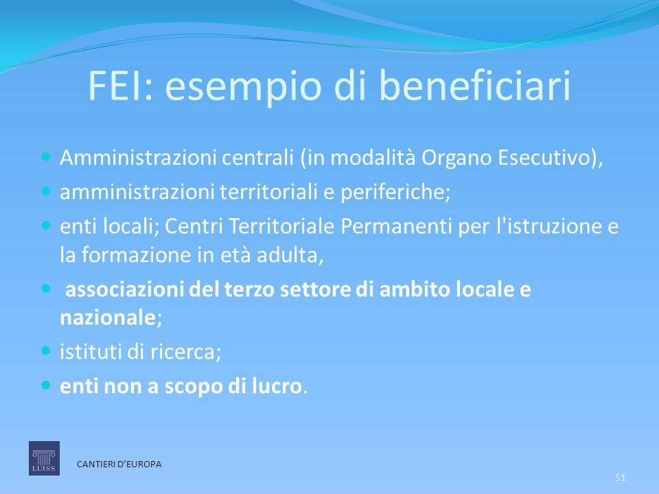 FEI: esempio di beneficiari Amministrazioni centrali (in modalità Organo Esecutivo), amministrazioni territoriali e periferiche; enti locali; Centri T