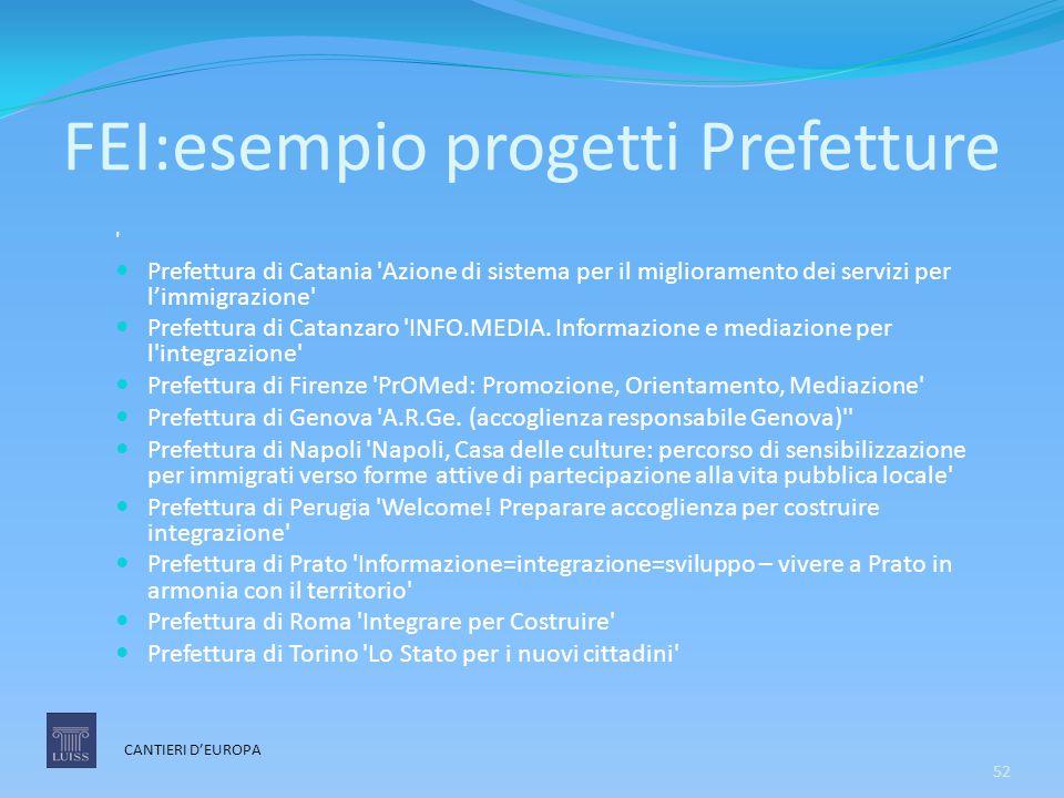 FEI:esempio progetti Prefetture ' Prefettura di Catania 'Azione di sistema per il miglioramento dei servizi per l'immigrazione' Prefettura di Catanzar