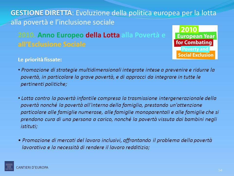 54 GESTIONE DIRETTA GESTIONE DIRETTA: Evoluzione della politica europea per la lotta alla povertà e l'inclusione sociale 2010. Anno Europeo della Lott