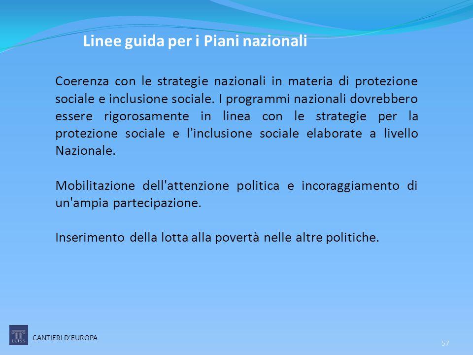 57 Linee guida per i Piani nazionali Coerenza con le strategie nazionali in materia di protezione sociale e inclusione sociale. I programmi nazionali