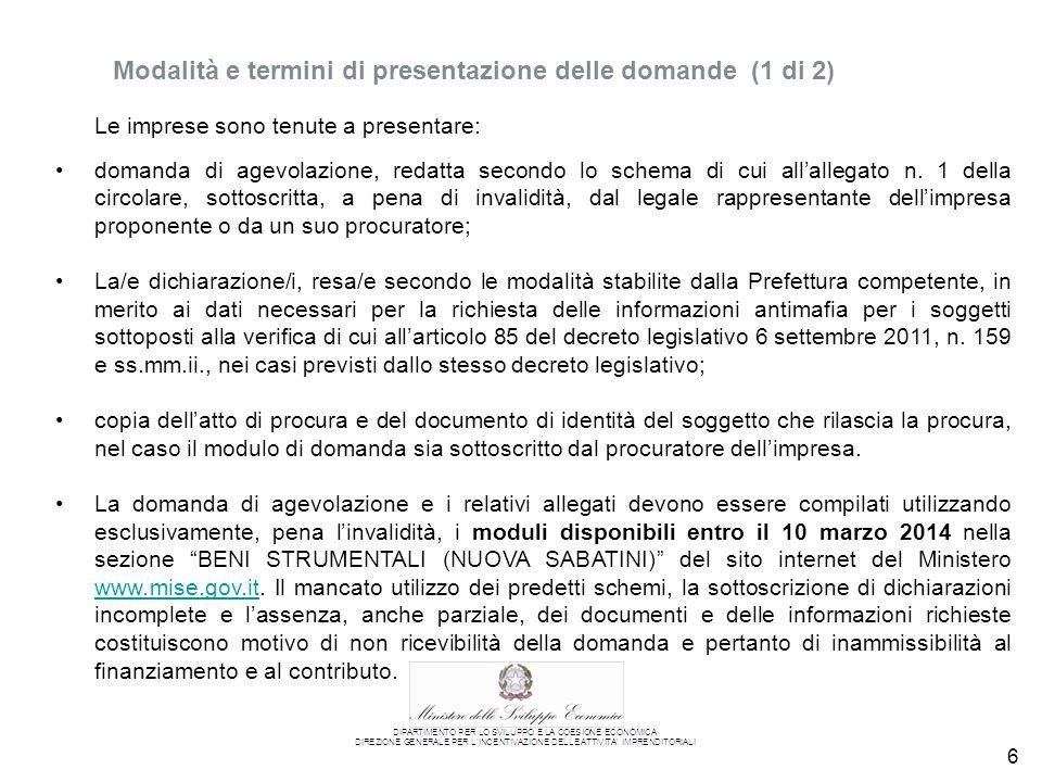 6 domanda di agevolazione, redatta secondo lo schema di cui all'allegato n.