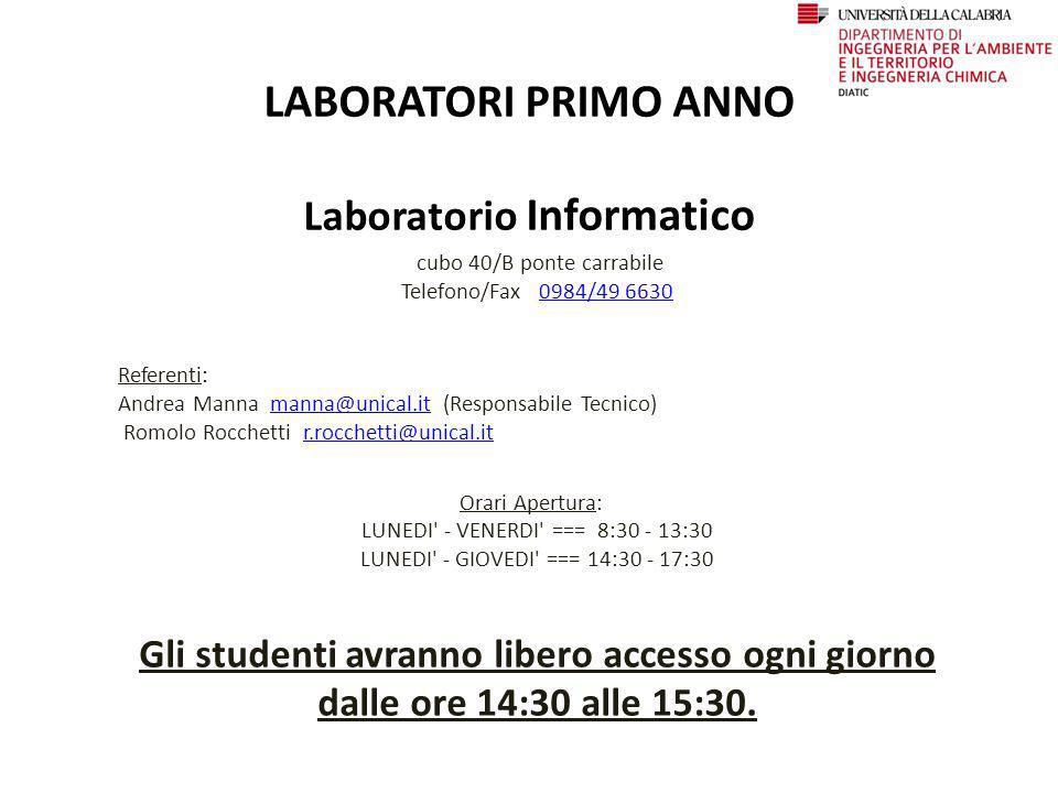 LABORATORI PRIMO ANNO Laboratorio Informatico cubo 40/B ponte carrabile Telefono/Fax 0984/49 66300984/49 6630 Referenti: Andrea Manna manna@unical.it