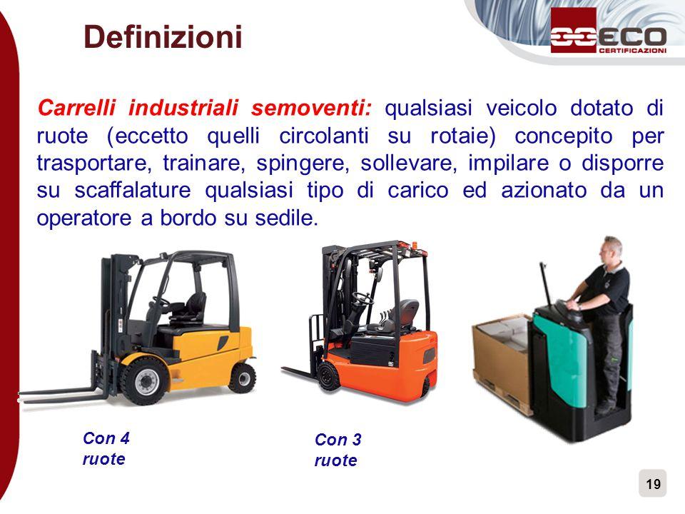 19 Definizioni Carrelli industriali semoventi: qualsiasi veicolo dotato di ruote (eccetto quelli circolanti su rotaie) concepito per trasportare, trai
