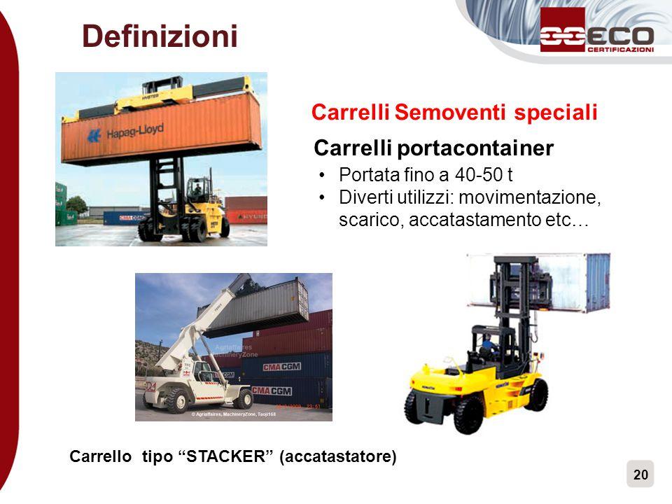 20 Carrelli Semoventi speciali Carrelli portacontainer Portata fino a 40-50 t Diverti utilizzi: movimentazione, scarico, accatastamento etc… Carrello