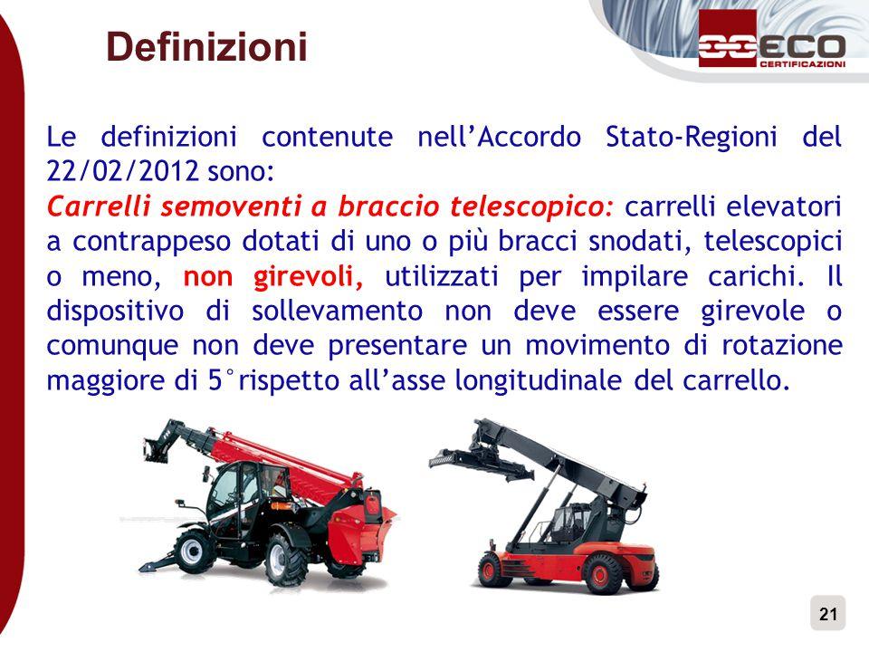 21 Definizioni Le definizioni contenute nell'Accordo Stato-Regioni del 22/02/2012 sono: Carrelli semoventi a braccio telescopico: carrelli elevatori a