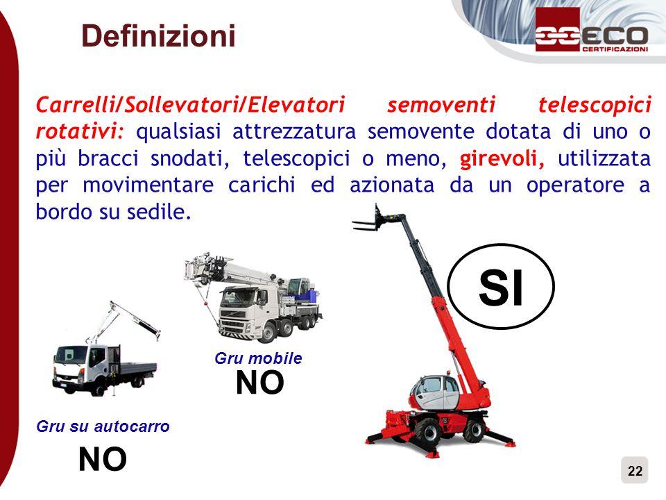 22 Definizioni Carrelli/Sollevatori/Elevatori semoventi telescopici rotativi: qualsiasi attrezzatura semovente dotata di uno o più bracci snodati, tel