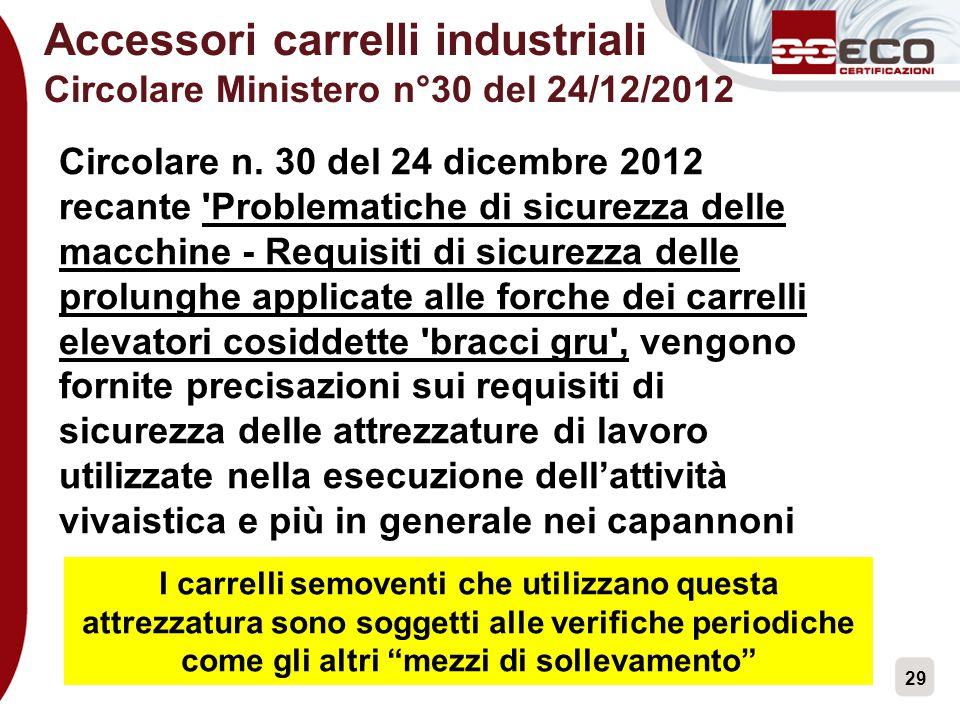 29 Accessori carrelli industriali Circolare Ministero n°30 del 24/12/2012 Circolare n. 30 del 24 dicembre 2012 recante 'Problematiche di sicurezza del