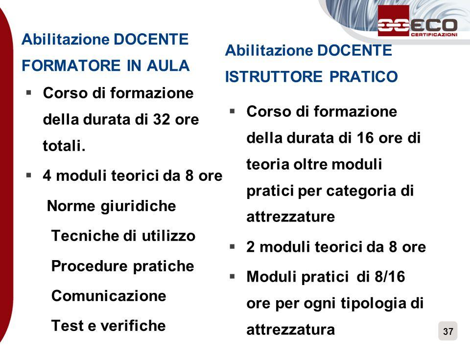 37 Abilitazione DOCENTE FORMATORE IN AULA  Corso di formazione della durata di 32 ore totali.  4 moduli teorici da 8 ore Norme giuridiche Tecniche d