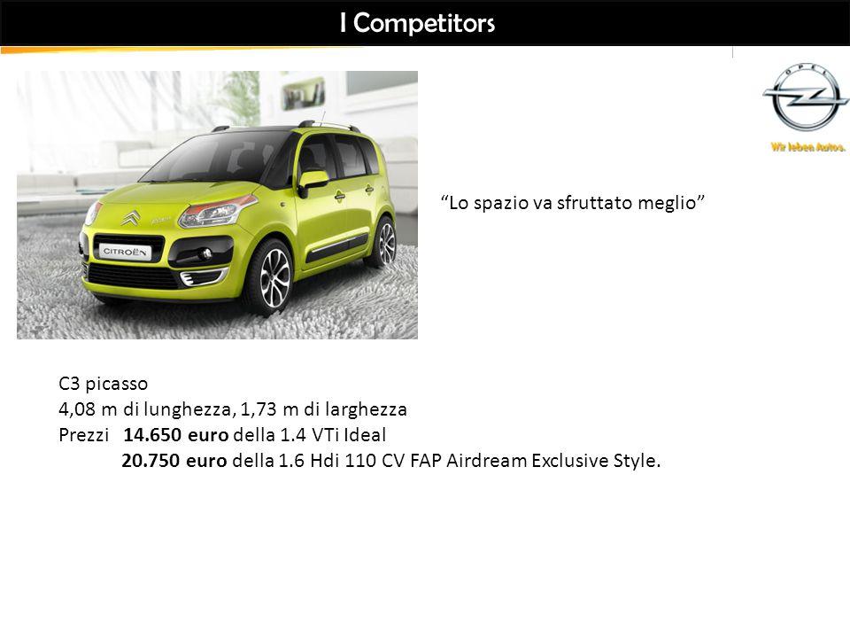 I Competitors C3 picasso 4,08 m di lunghezza, 1,73 m di larghezza Prezzi 14.650 euro della 1.4 VTi Ideal 20.750 euro della 1.6 Hdi 110 CV FAP Airdream Exclusive Style.