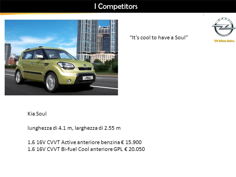 I Competitors Kia Soul lunghezza di 4.1 m, larghezza di 2.55 m 1.6 16V CVVT Active anteriore benzina € 15.900 1.6 16V CVVT Bi-fuel Cool anteriore GPL € 20.050 It's cool to have a Soul