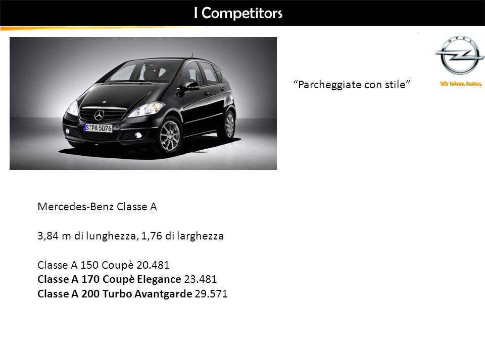 I Competitors Mercedes-Benz Classe A 3,84 m di lunghezza, 1,76 di larghezza Classe A 150 Coupè 20.481 Classe A 170 Coupè Elegance 23.481 Classe A 200 Turbo Avantgarde 29.571 Parcheggiate con stile